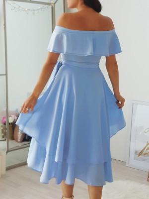 Flounce Off Shoulder Layered Dip Hem Casual Dress