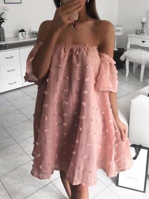 f2523ec734 Solid Off Shoulder Mesh Chiffon Dress ...
