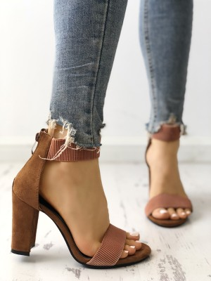 Elastic Two Part  Chunky Heeled Sandals