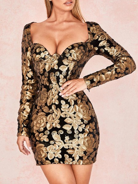 Long Sleeve Sequin Party Dress