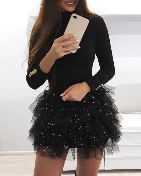 Long Sleeve Glitter Layered Mesh Dress