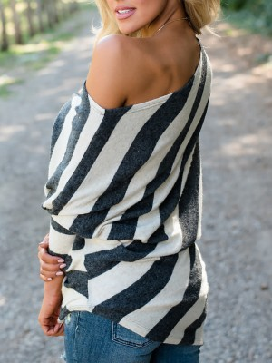 Trendy Skew Neck Batwing Sleeve Striped Blouse