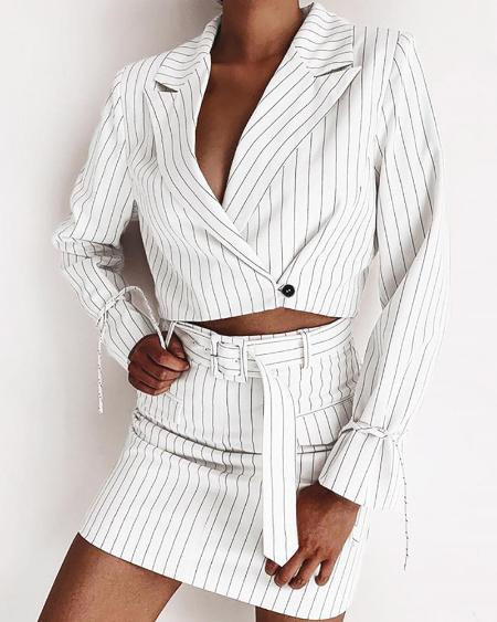 boutiquefeel / Pinstripes Notched Collar Crop Blazer & Buttoned Skirt Sets