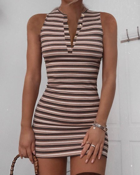 Buttoned Striped Sleeveless Mini Dress