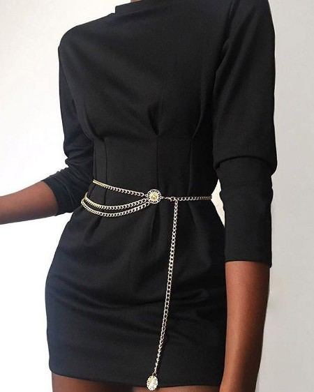 Long Sleeve Ruched Waist Detail Dress
