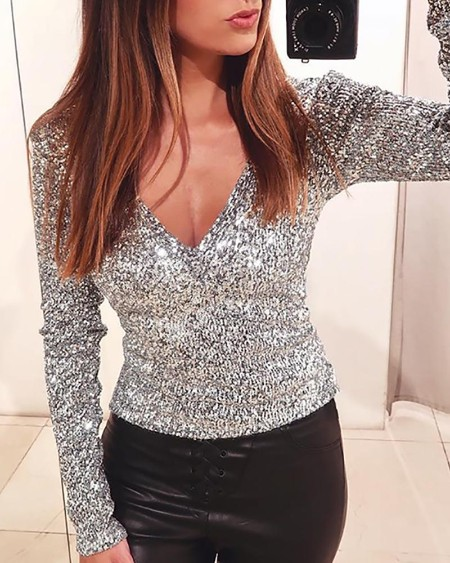 Long Sleeve V-neck Shiny Sequins Top