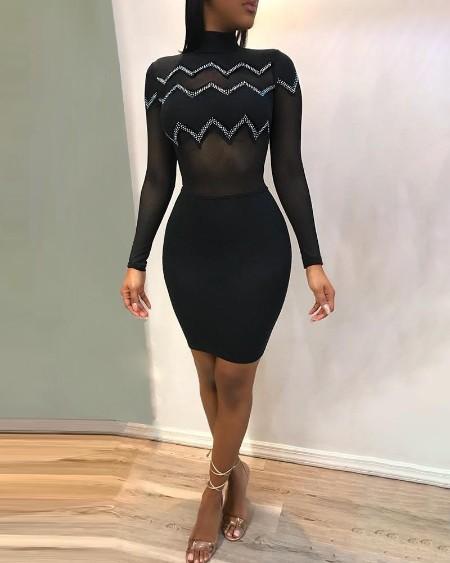 Diamante Trim See Through Bodycon Dress