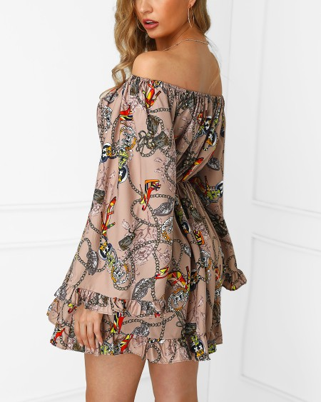 Off Shoulder Scarf Print Tight Waist Dress