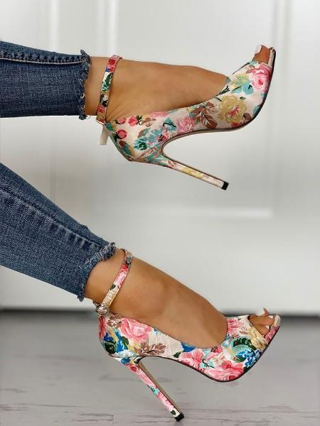 Floral Peep Toe Ankle Strap Heeled Sandals