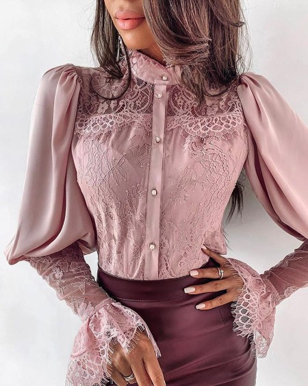 Lace Patchwork Puff Sleeve Buttoned Blouse