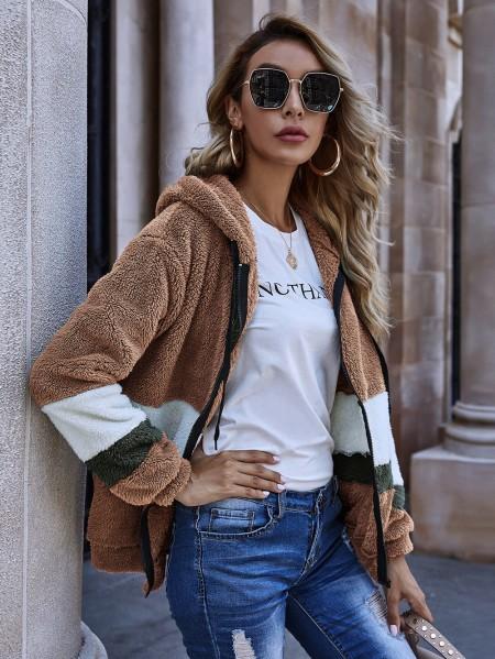 boutiquefeel / Colorblock Zipper Front Hooded Teddy Coat