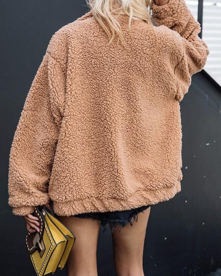 Pocket Design Zip Teddy Coat