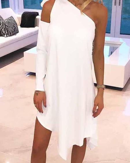 Cutout One Sleeve Irregular Hem Casual Dress