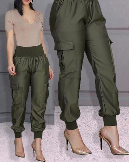 High Waist Elastic Detail Pants