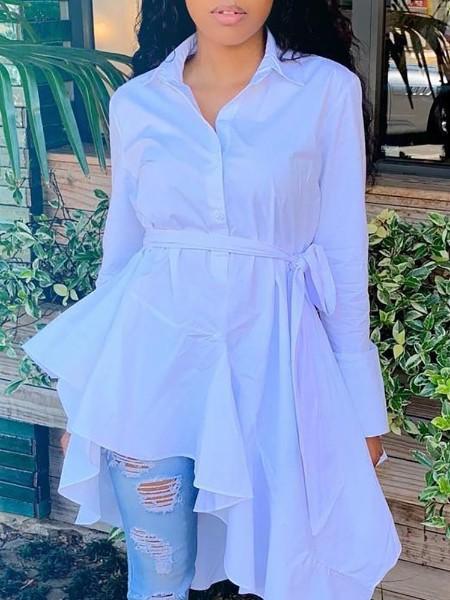 Solid Long Sleeve Irregular Hem Shirt