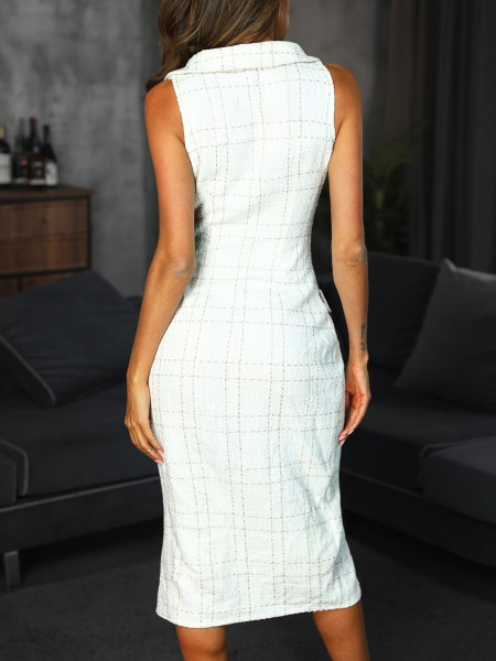 Plaid Print Double Breasted Slit Blazer Dress