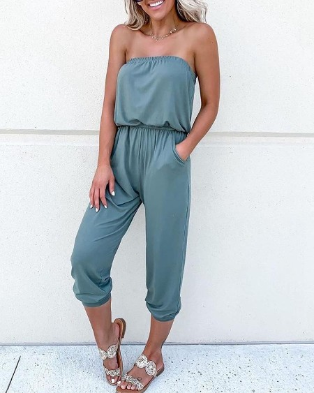 Solid Pocket Detail Tube Jumpsuit