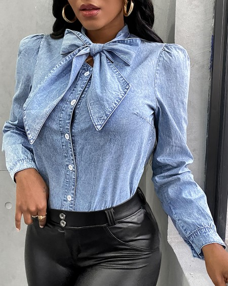 Tie Neck Puff Sleeve Denim Shirt