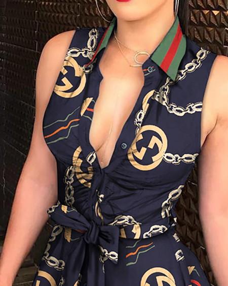 Chain Print Tie Waist Sleeveless Shirt Dress