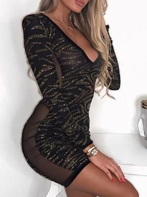 Glittering Sheer Mesh Bodycon Mini Dress