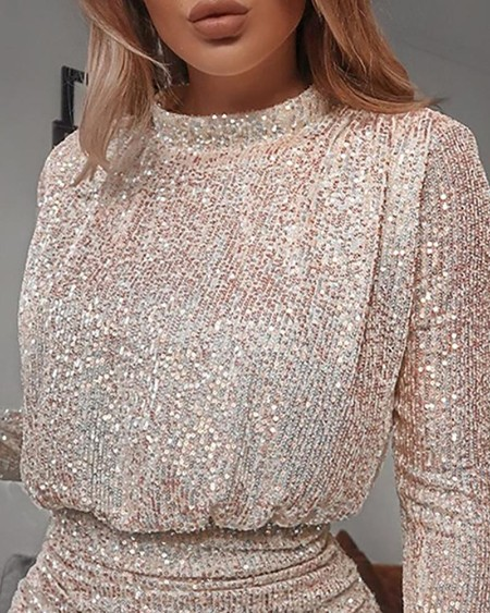 Sequins Long Sleeve Top & Skirt Sets
