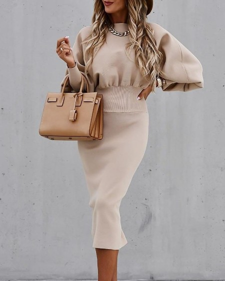boutiquefeel / Solid Bubble Sleeve Skinny Waist Sweater Dress