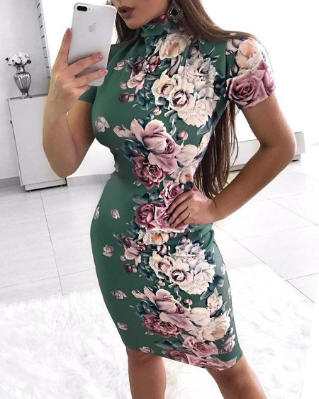 Short Sleeve Floral Print Bodycon Dress