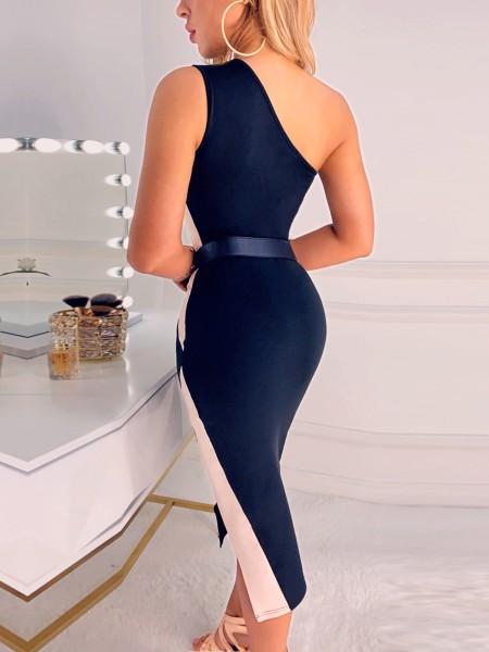 Contrast Color Geo Slit Dress