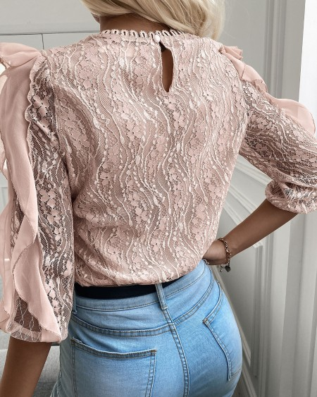 Floral Pattern Lace Ruffles Hem Blouse