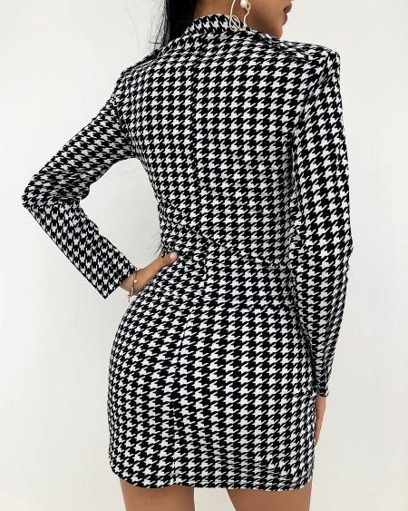 Grid Longn Sleeve Skiny Suit Skirts Suit Sets