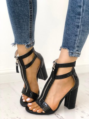 Zipper Hollow Out  Peep Toe Chunky Heeled Sandals