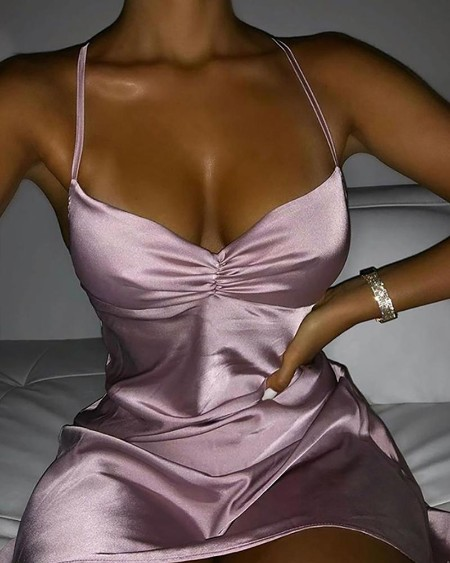 Satin Ruched Spaghetti Strap Party Dress