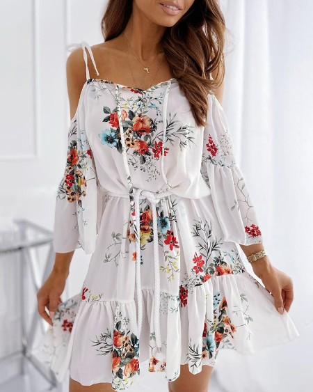Floral Print Cold Shoulder Ruffles Ruched Dress