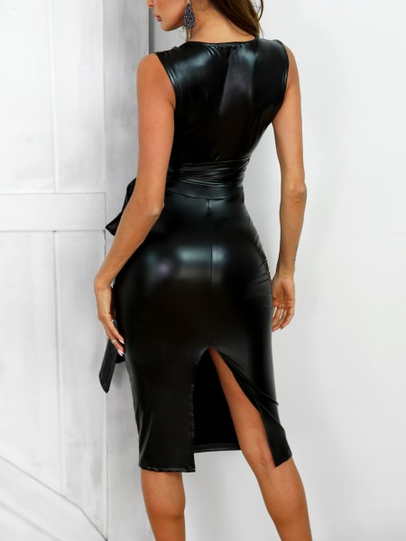 Crisscross Cutout Bandage Coated PU Bodycon Dress