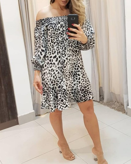 Off Shoulder Cheetah Print Shirring Ruffles Casual Dress