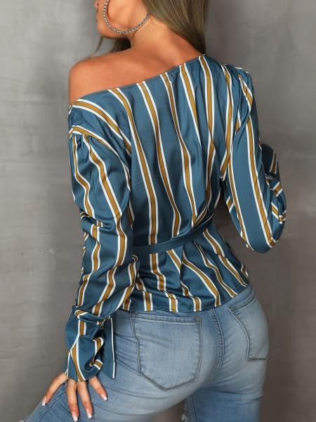 Long Sleeve Tie Side Striped Irregular Blouse