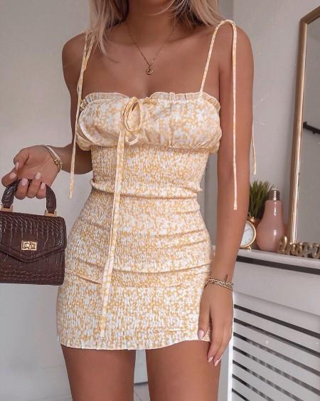 Floral Print Spaghetti Strap Shirring Design Dress