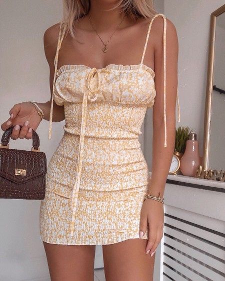 Floral Print Spaghetti Strap Shirring Design Dress