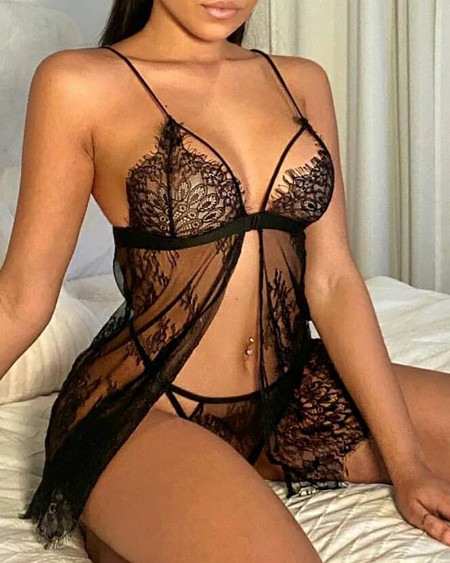 Slit Front Sheer Mesh Lace Babydoll With Thong
