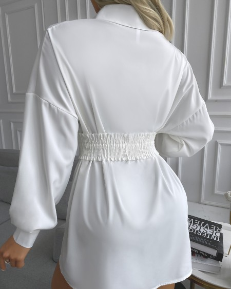 Plain Lantern Sleeve Button Design Belted Shirt Dress