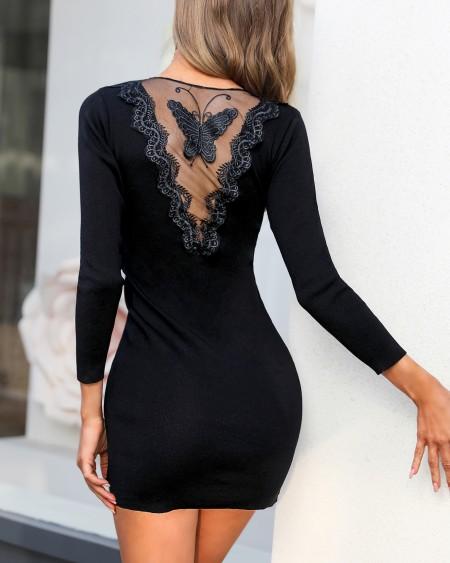 Sheer Mesh Back Zipper Dress