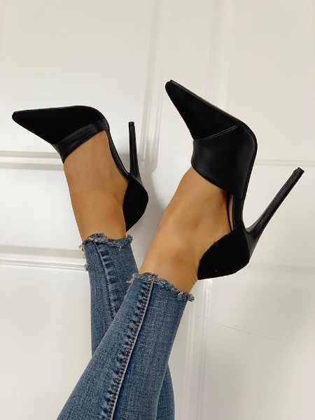 Pointed Toe Suede & PU Heels