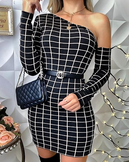 boutiquefeel / One Shoulder Grid Print Bodycon Dress