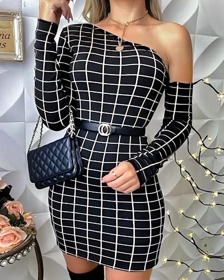 boutiquefeel / One Shoulder Grid Print Bodycon Dress