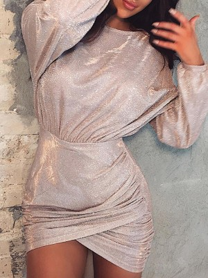 Glitter Drape Sleeve Ruched Overlap Dress