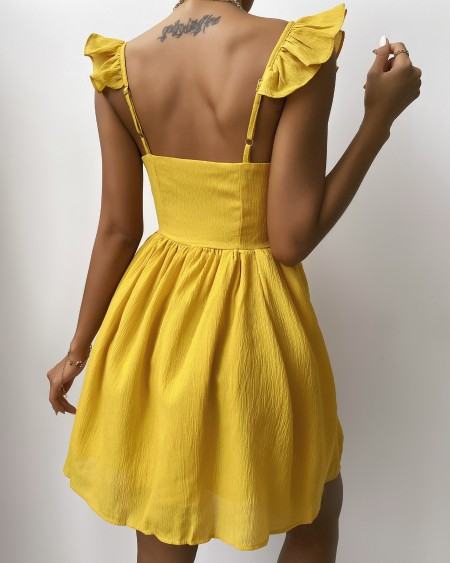 Plain V Neck Ruffle Hem Dress