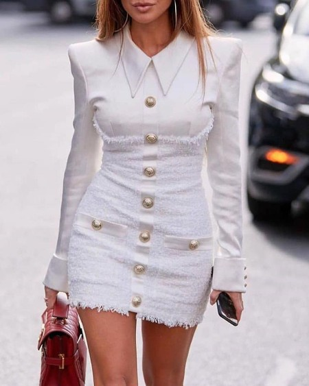 Solid Patchwork Rove Buttoned Design Dress