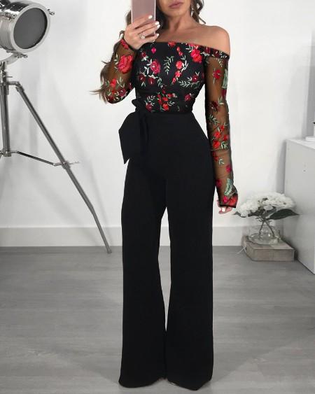 boutiquefeel / Off Shoulder Mesh Floral Embroidery Jumpsuit