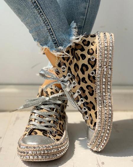 Leopard Rivet Embellished Lace-Up Sneakers
