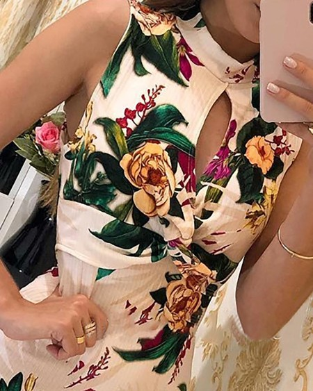 Floral Print Sleeveless Twisted Bodycon Dress
